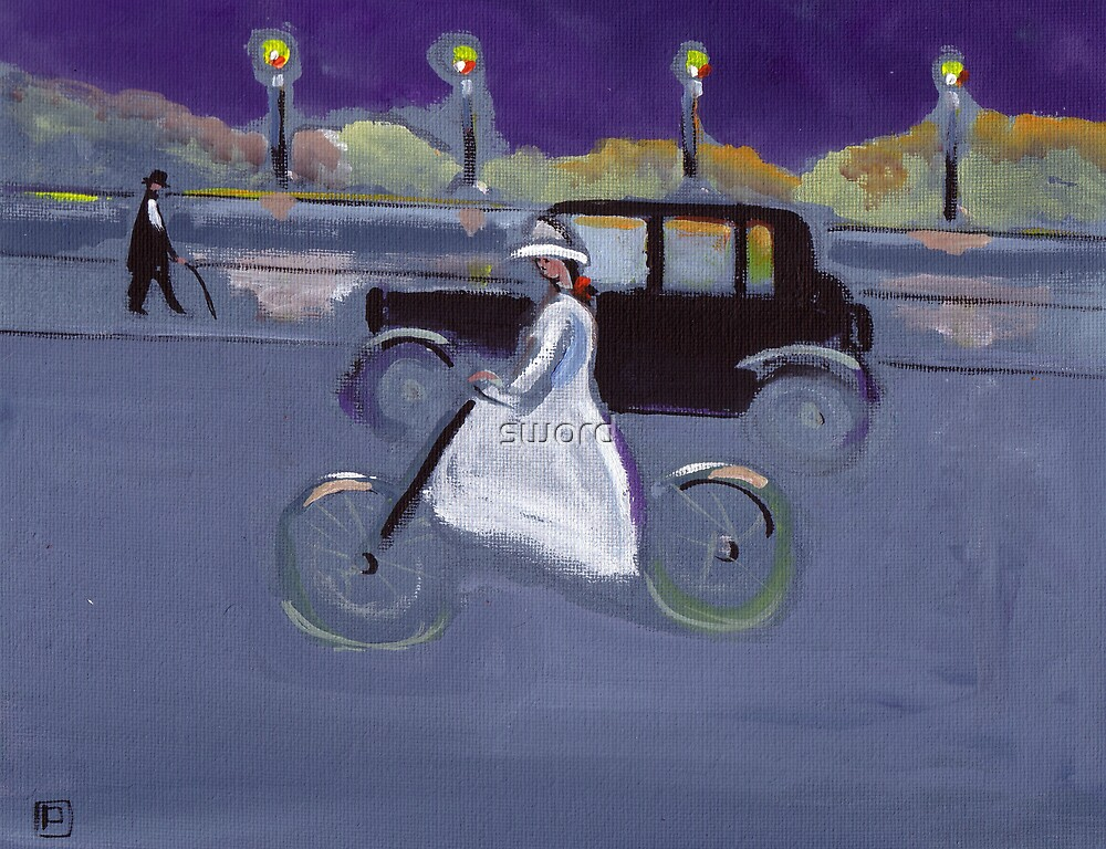 The cyclist (from my original acrylic painting) by sword