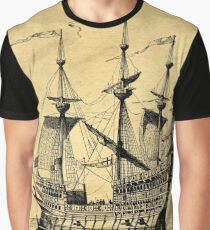 Tall Ship Vintage Illustration Graphic T-Shirt