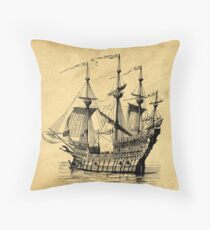 Tall Ship Vintage Illustration Throw Pillow