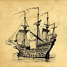 Tall Ship Vintage Illustration by Edward Fielding