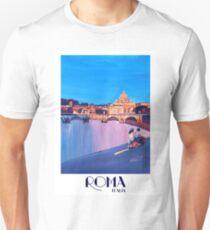Rom Szene mit Motorroller und Blick auf Vatikan mit Kuppel von St. Peter - Retro Poster  Unisex T-Shirt