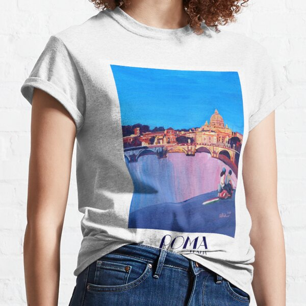 Rome scene with scooter and view on Vatican with dome of St. Peter - retro poster Classic T-Shirt