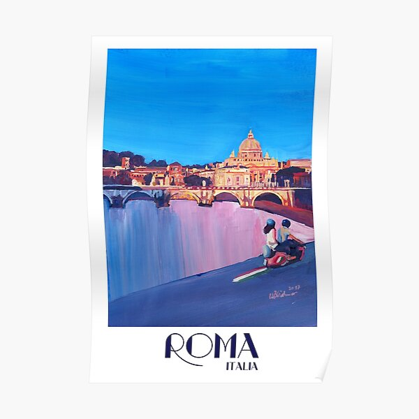 Rome scene with scooter and view on Vatican with dome of St. Peter - retro poster Poster
