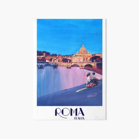 Rome scene with scooter and view on Vatican with dome of St. Peter - retro poster Art Board Print
