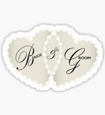 Bride and Groom Diamond Hearts Sticker