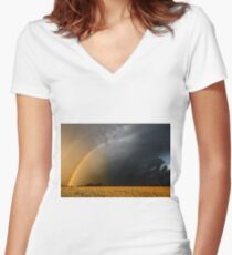 Storm Over Canolla Field  Women's Fitted V-Neck T-Shirt