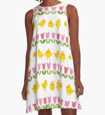 Easter - chick and tulips A-Line Dress