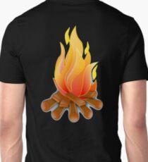 Campfire, Log fire, Fire, Burn, Camping, on Black T-Shirt