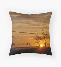 Barbed Wire Sunset Throw Pillow
