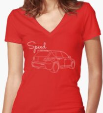 MazdaSpeed 3 Outline - Speed Artwork Women's Fitted V-Neck T-Shirt