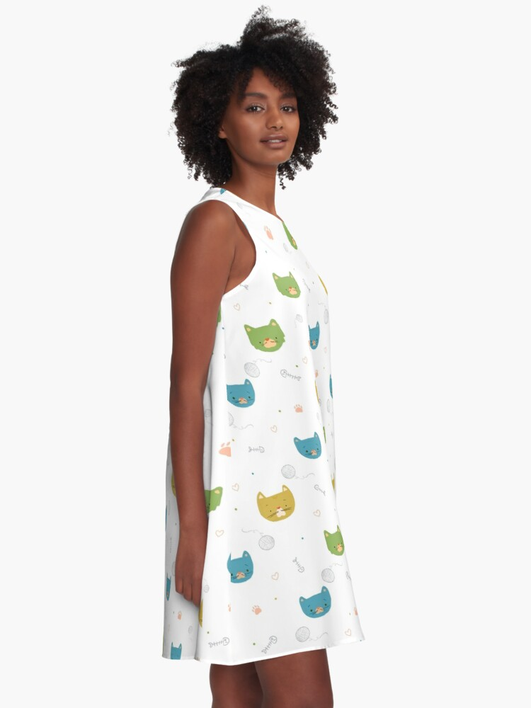 Alternate view of Cats - Pattern A-Line Dress