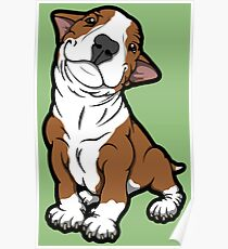 Adorable Bull Terrier Puppy Tan Poster