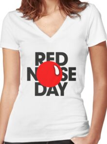 red nose day ! Women's Fitted V-Neck T-Shirt