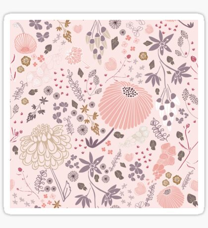Field of Flowers in Pink and Purple Sticker