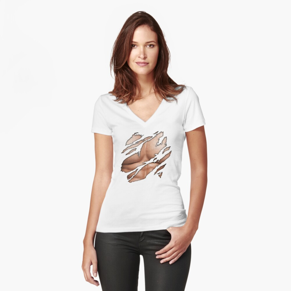 Torn Shirt Man Chest Womens Fitted V Neck T Shirt By Weetee