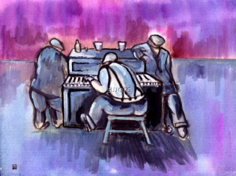 The piano player (from my original acrylic painting) by sword