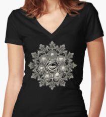 Anahata Seven Chakra Flower Mandala Women's Fitted V-Neck T-Shirt