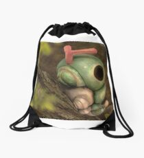 Caterpie on a tree Drawstring Bag