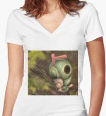 Caterpie on a tree Women's Fitted V-Neck T-Shirt