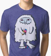 Yeti with ice cream Tri-blend T-Shirt