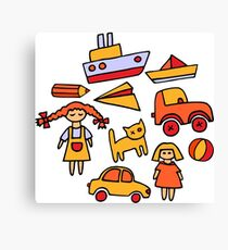 Set of funny toys Canvas Print