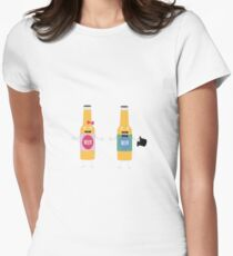 Wedding Beerbottle couple Rn4bx Womens Fitted T-Shirt