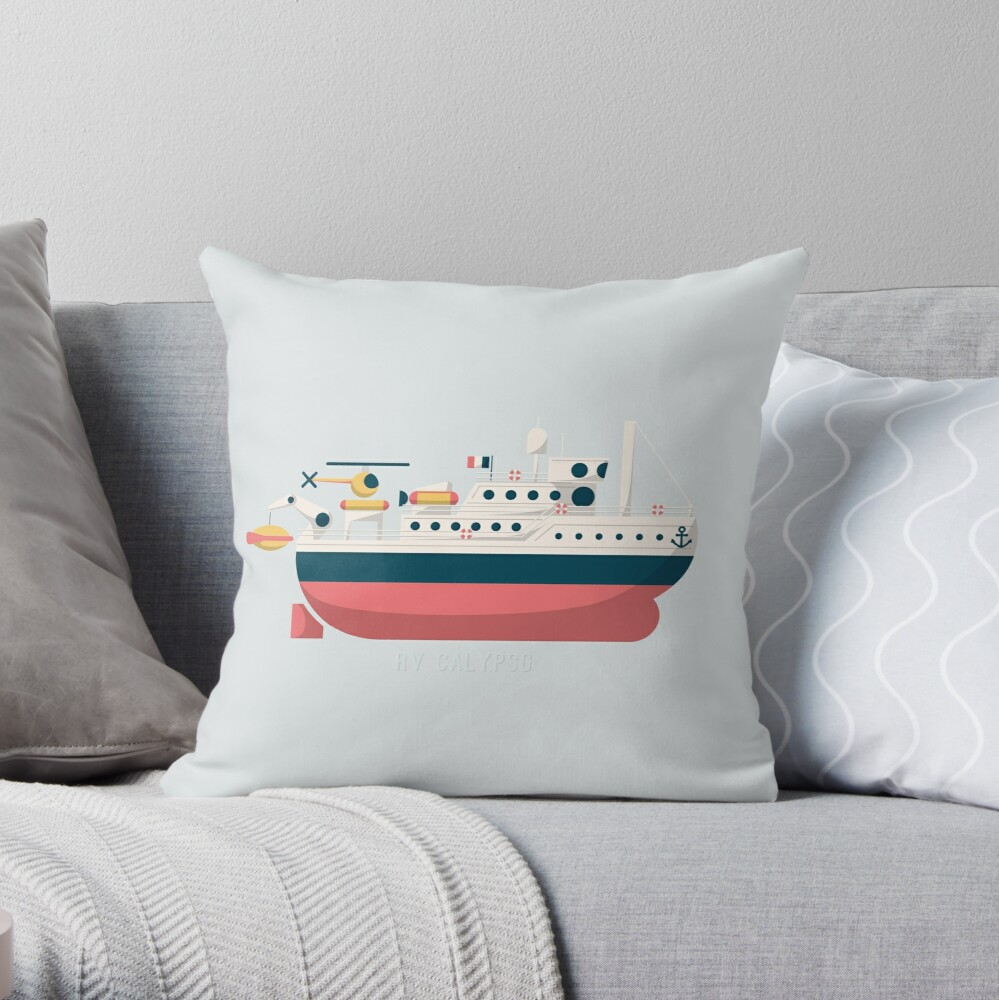 Minimalist Jacques Cousteau's Research Vessel Calypso Throw Pillow