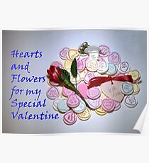 Valentine Hearts and Flowers Poster