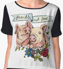 'Friends, not Food' Pig Veggie Vegan Illustration Women's Chiffon Top