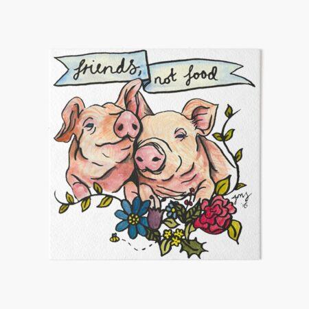 Ilustración vegana vegetariana de cerdo 'Friends, not Food' Lámina rígida