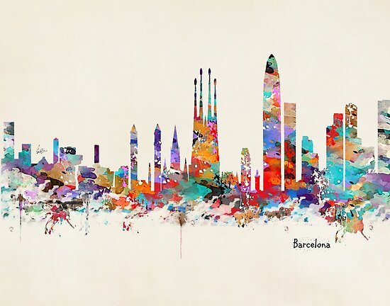 Quot barcelona skyline watercolor quot posters by bri b redbubble