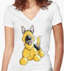 Happy German Shepherd Women's Fitted V-Neck T-Shirt