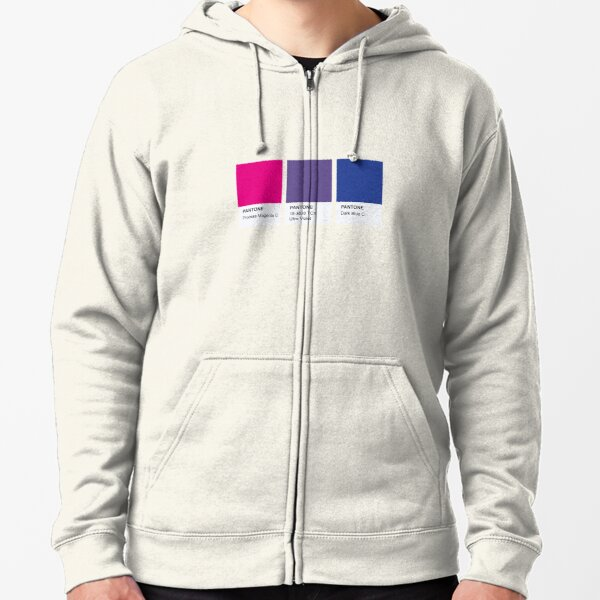 LGBT COLOR PANTONE PALLETE BISEXUAL COMMUNITY DESIGN Zipped Hoodie