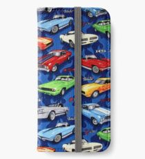 Auto Sports Muscle Cars Pattern iPhone Wallet