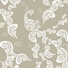 Elegant Bohemian Boho White Floral Paisley Peacock On Taupe by fatfatin
