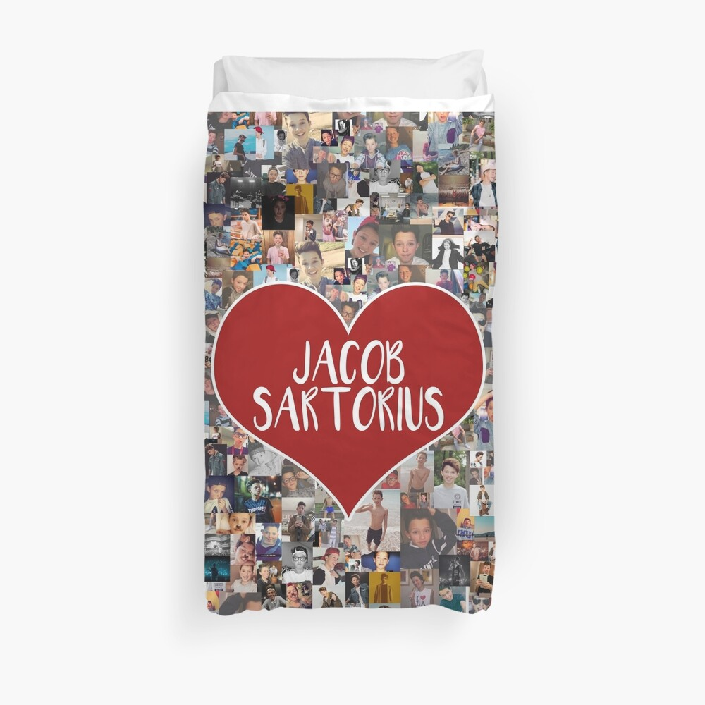 I love Jacob Sartorius - with white outline Duvet Cover