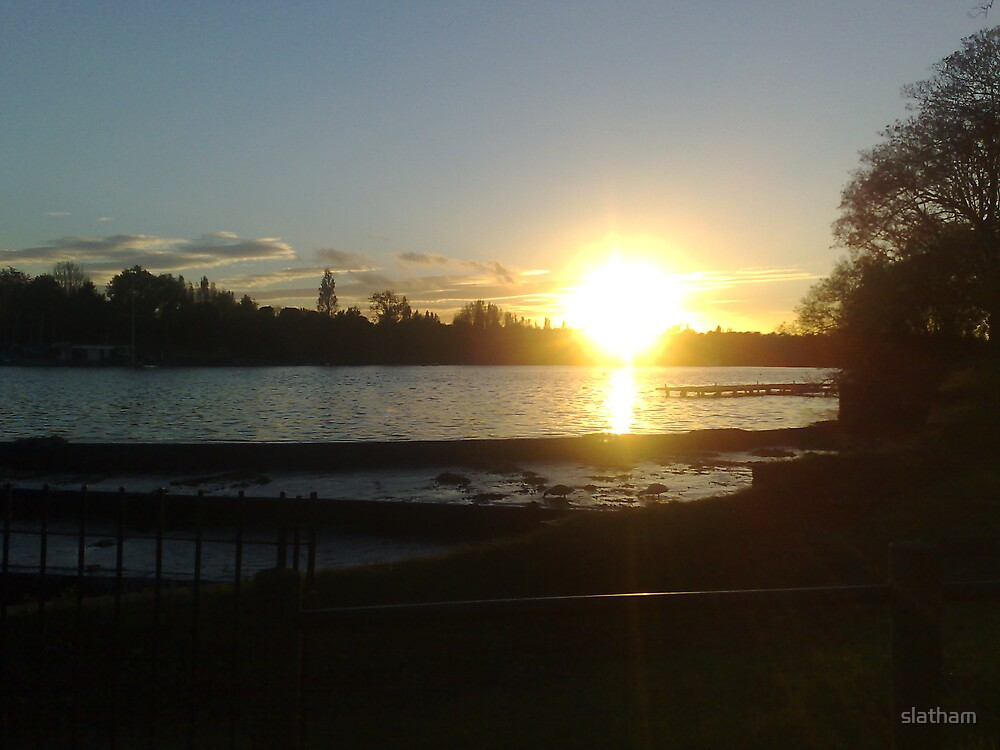 Sun Setting Over Lake by slatham