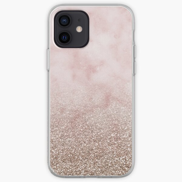 Rose gold carnation marble with glitter gradient iPhone Soft Case