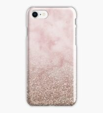 Rose gold carnation marble with glitter gradient iPhone Case/Skin