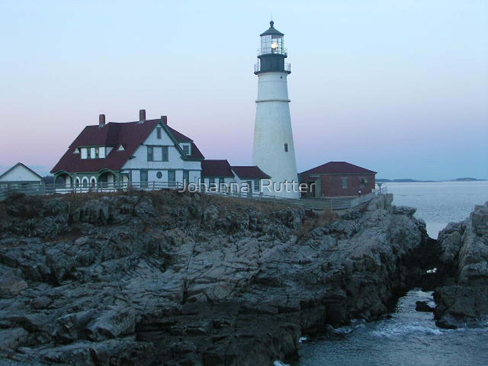 Portland headight Maine in the evening by Johanna  Rutter