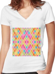 Colorful Geometric Background Women's Fitted V-Neck T-Shirt