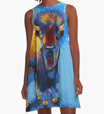 On the Plain - Bison painting A-Line Dress