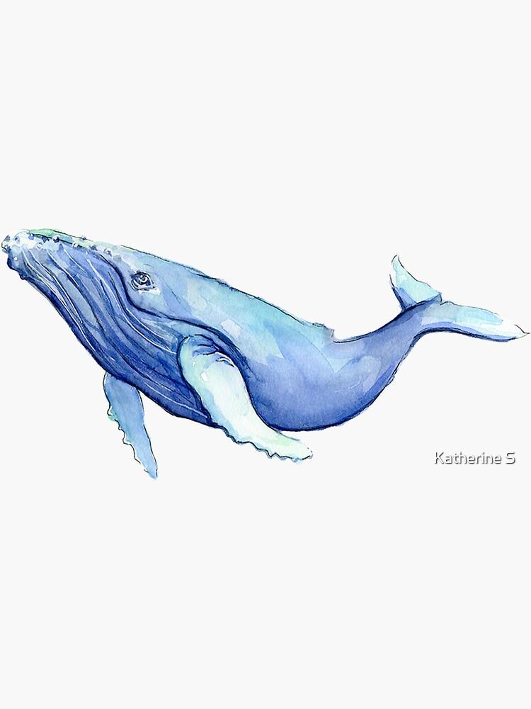 Blue Watercolor Humpback Whale  by katherineshek
