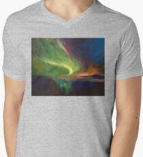 Aurora Borealis Mens V-Neck T-Shirt