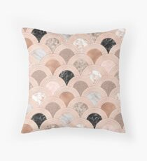 Mixed marble designs fans in rose gold Throw Pillow