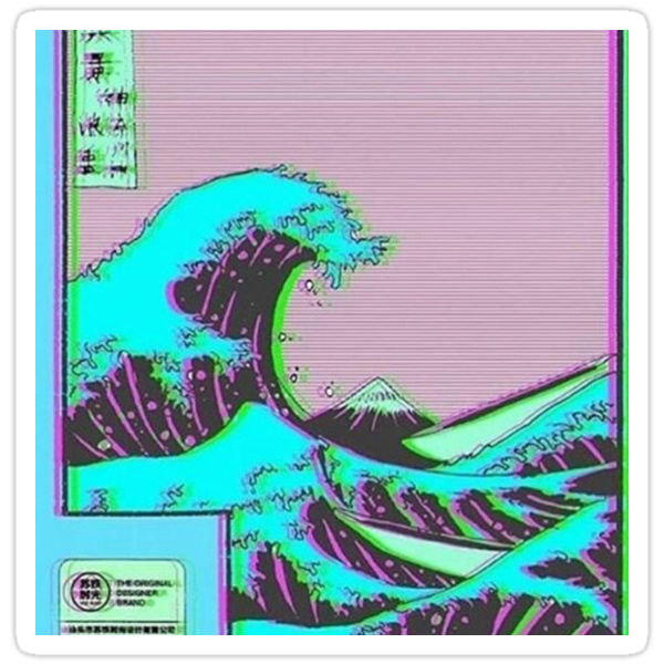 Quot The Great Wave Off Vaporwave Kanagawa Quot Stickers By Nietr