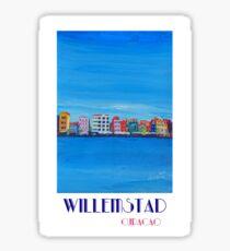 Willemstad Curacao Caribbean Antilles Harbor Promenade in Blue - Retro Poster Sticker