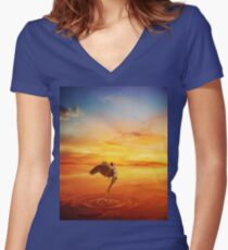 leaving your world Women's Fitted V-Neck T-Shirt