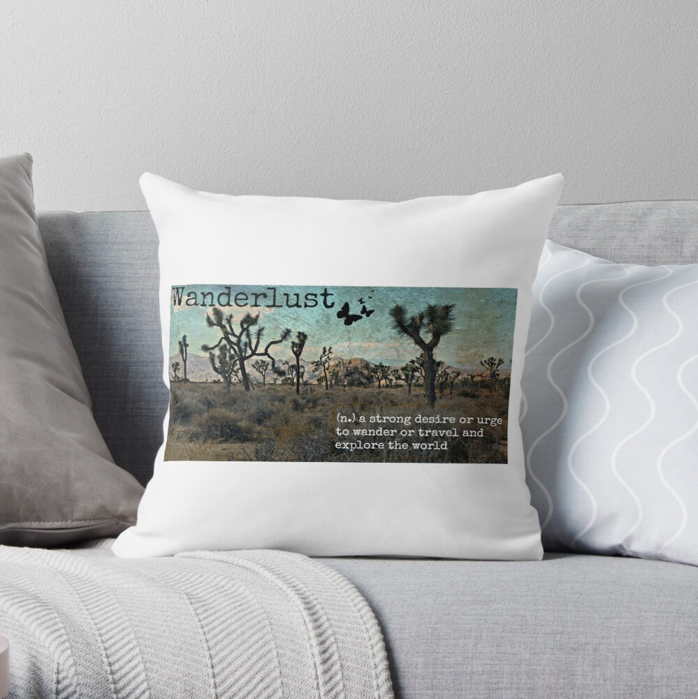 Wanderlust Travel Quote Collection Throw Pillow