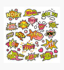 Fashion Badges, Patches, Stickers in Pop Art Comic Speech Bubbles Set with Halftone Dotted Cool Shapes. Vector Retro Background Photographic Print